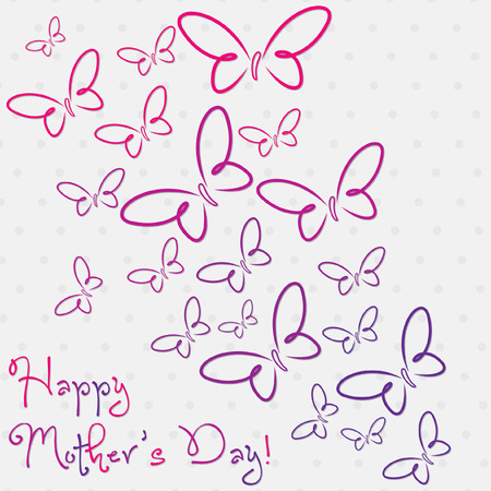 Happy Mother s Day butterfly card in vector format