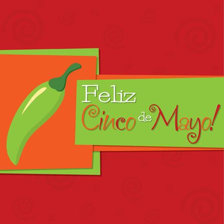 5th: Funky chilli  Feliz Cinco de Mayo   Happy 5th of May  card in vector format  Illustration