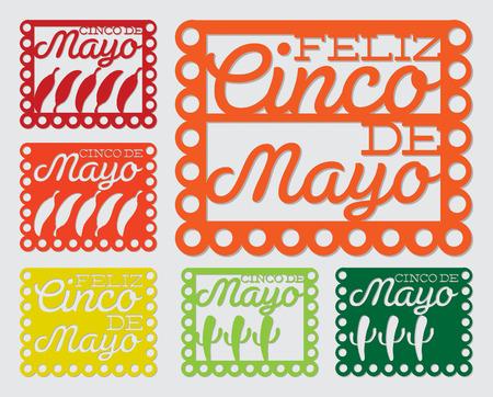 Mexican  papel picado   Paper flag decoration  set in vector format  Vector