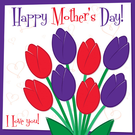 Mother s Day tulip card in vector format  Vector