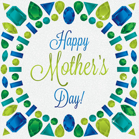 green tourmaline: Mother s Day gem card in vector format