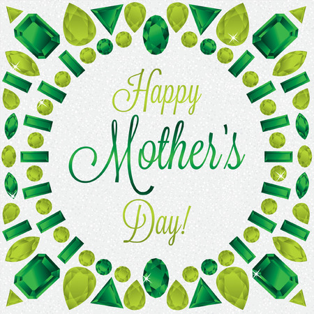 peridot: Mother s Day gem card in vector format