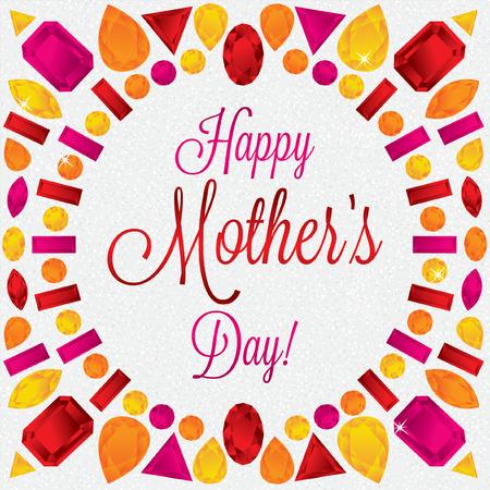 Mother s Day gem card in vector format Vetores