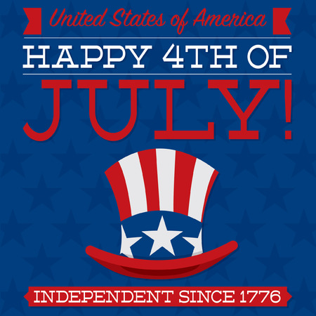 uncle sam hat: Retro Independence Day card in vector format  Illustration