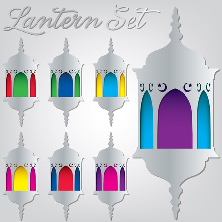 Arabesque lantern set in vector format  Vector