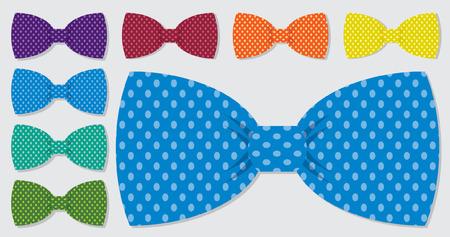 Polka dot bow tie réglée en format vectoriel Vecteurs