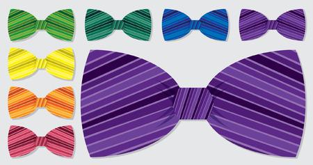 Stripe bow tie set in vector format  Çizim