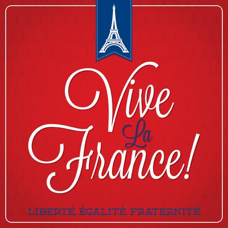 Vive La France  Bastille Day card in vector format  Vectores
