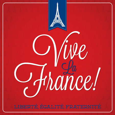 freedom tower:  Vive La France  Bastille Day card in vector format  Illustration