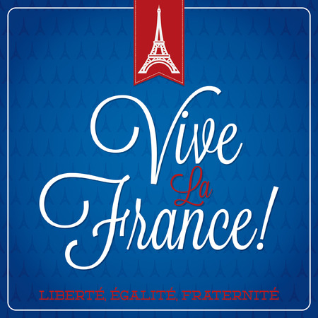 bastille:  Vive La France  Bastille Day card  Illustration