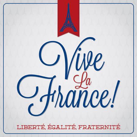 Vive La France  Bastille Day card  Vectores