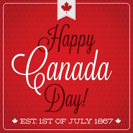 burgundy ribbon: Cartolina retr� Canada Day in formato vettoriale