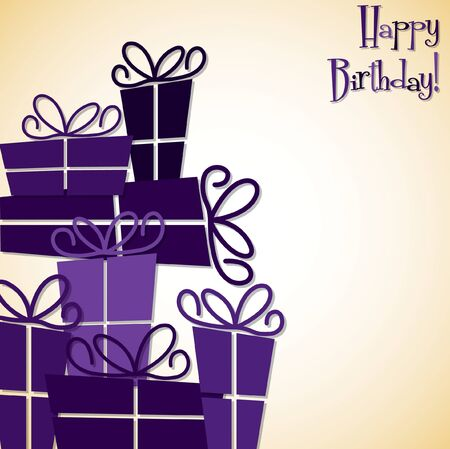 mauve: Bright stack of presents card in vector format