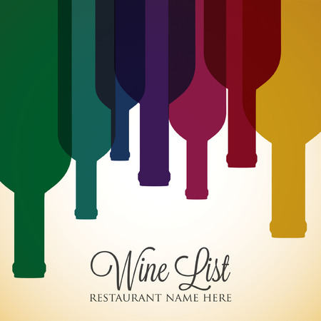 Bright wine list menu cover in vector format. Vector