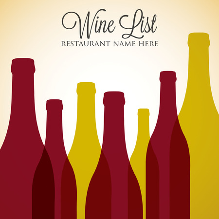 Red and white wine list menu cover in vector format. Vector