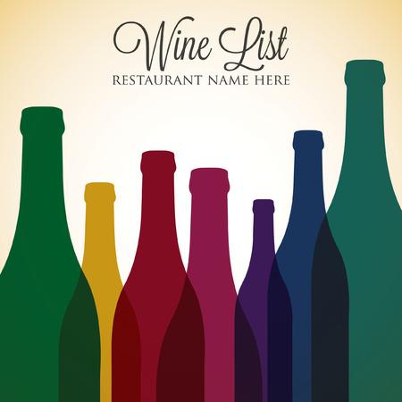 Bright wine list menu cover in vector format. Vector