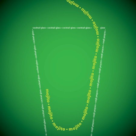 background green: Bright mojito cocktail made from words in vector format.