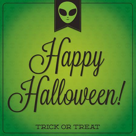 31: Alien retro typographic Halloween card in format.