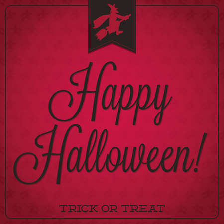 31: Witch on a broom retro typographic Halloween card in format.