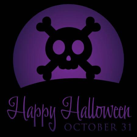 Skull and cross bones rising moon Halloween card  Vector