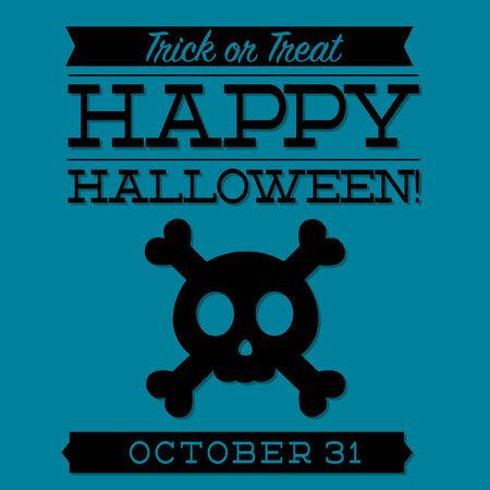 cross bones: Calavera y huesos cruzados tarjeta de Halloween tipogr�fica