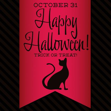 frighten: Black cat Halloween sash card Illustration