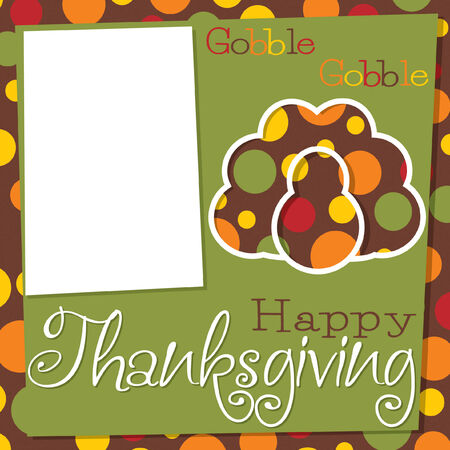 Funky Thanksgiving cut out card in vector format. Vector