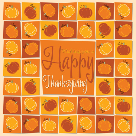 Pumpkin mosaic Thanksgiving card in vector format. Vector