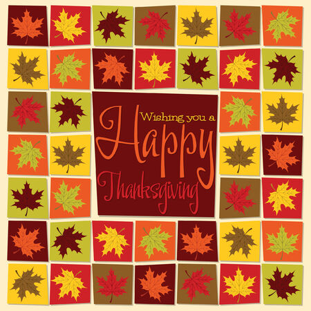 Maple leaf mosaic Thanksgiving card in vector format.