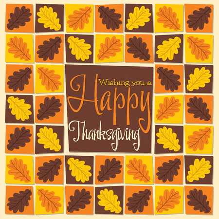 acorn: Acorn leaf mosaic Thanksgiving card in vector format.