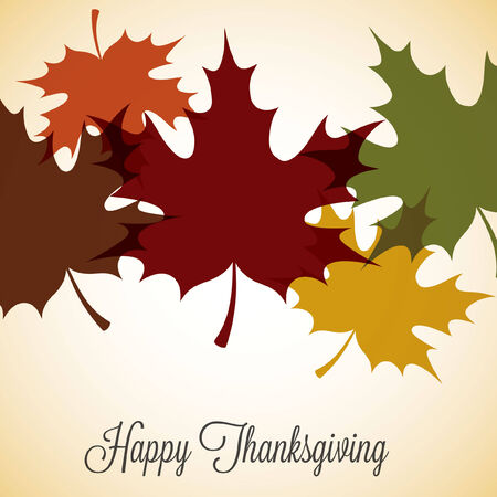 thanks: Maple leaf Thanksgiving card in vector format.