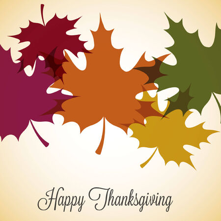 thanksgiving family: Maple leaf Thanksgiving card in vector format.