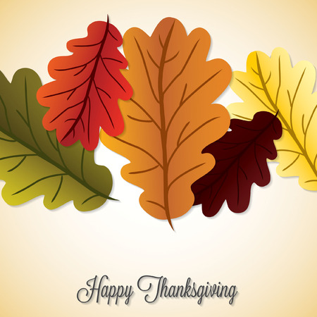 thanksgiving family: Acorn leaf Thanksgiving card in vector format. Illustration