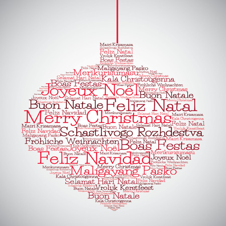 Christmas bauble made from Merry Christmas in different languages in vector format. Vector