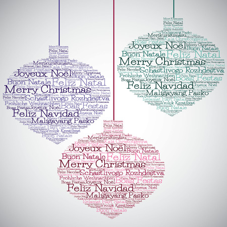 Christmas bauble made from Merry Christmas in different languages in vector format. Illustration