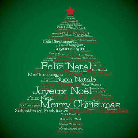 Christmas tree made from Merry Christmas in different languages in vector format. Vector
