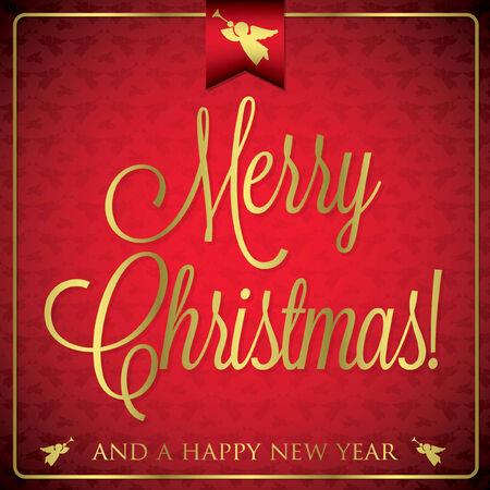 burgundy ribbon: Carta tipografica di Natale in formato vettoriale.
