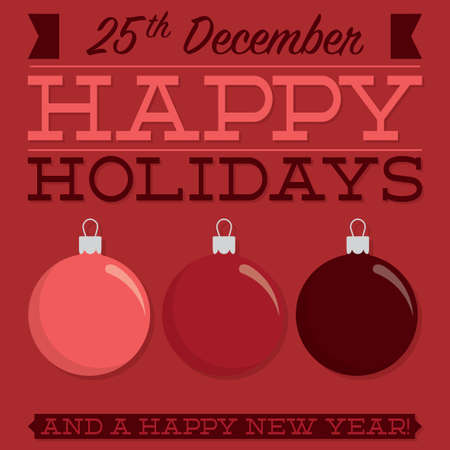 burgundy ribbon: Retro typographic bauble card in vector format Illustration