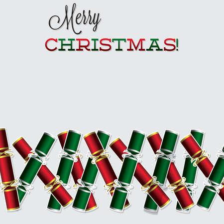 new years eve dinner: Bright Christmas cracker card Illustration