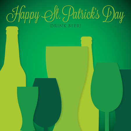 beer card: Overlay beer bottle and glass St. Patricks Day card