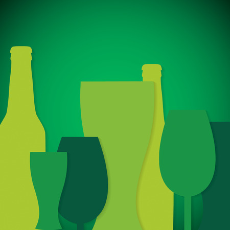 Overlay beer bottle and glass St. Patricks Day card