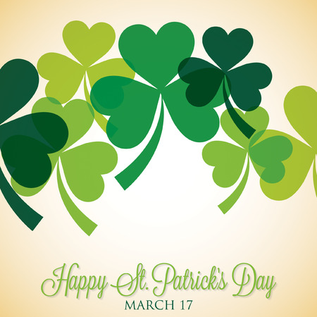 celtic shamrock: Overlapping shamrock St Patricks Day card