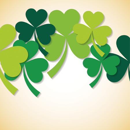 four fourleaf: Overlapping shamrock St Patricks Day card