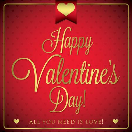 burgundy ribbon: Elegant typographic Valentines Day card