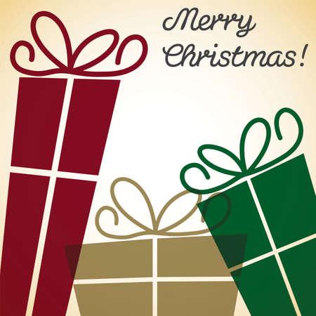 burgundy ribbon: Christmas present overlay card Illustration