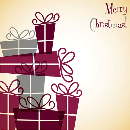 new years eve dinner: Christmas present overlay card Illustration