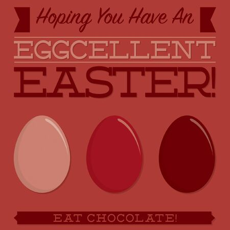 burgundy ribbon: Retro style Easter typographic card in vector format. Illustration