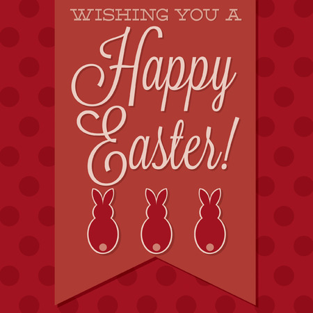 burgundy ribbon: Retro style Happy Easter card in vector format. Illustration