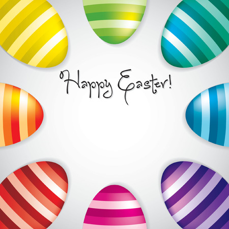 Circle of Easter eggs border in vector format. Vector