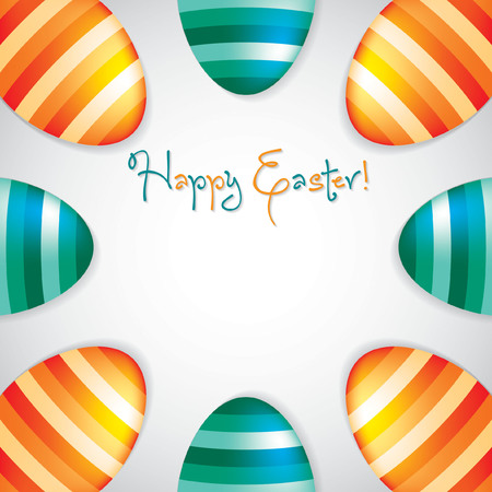 observance: Circle of Easter eggs border in vector format.